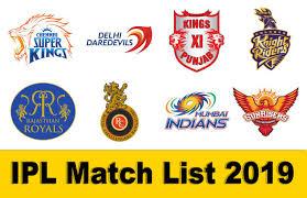 आईपीएल मैच लिस्ट 2019